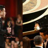 Rami Malek riceve l'Oscar e poi cade dal palco con la statuetta tra le mani