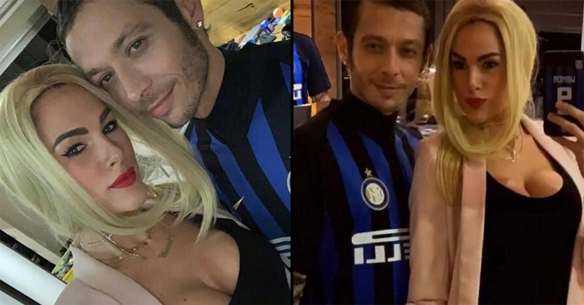 Carnevale, Valentino Rossi e la fidanzata Francesca diventano Icardi e Wanda Nara