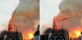 Notre Dame in fiamme: il momento del crollo della guglia