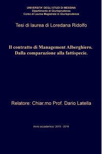 Il contratto di Management Alberghiero. Dalla...