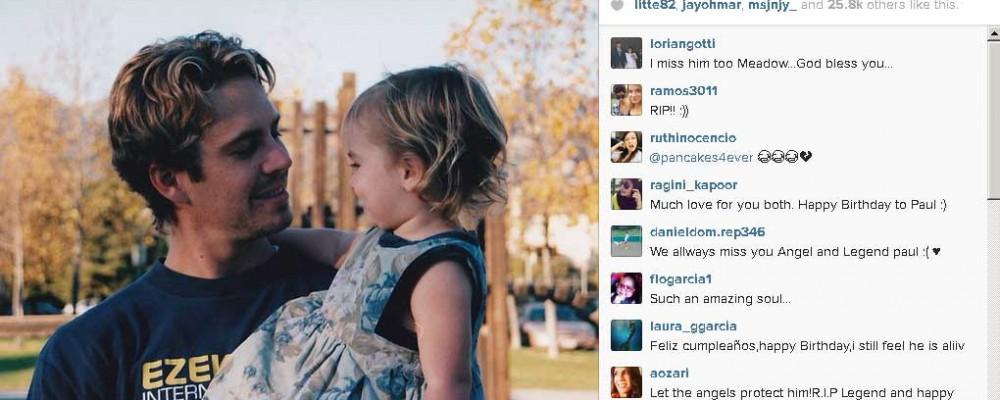Gli auguri della figlia Meadow a Paul Walker su twitter: avrebbe compiuto 41 anni