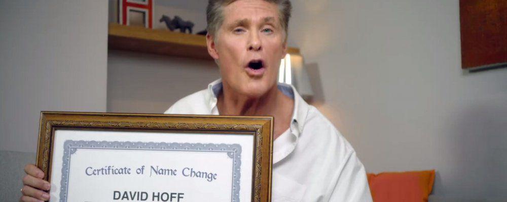 David Hasselhoff cambia nome e diventa  David  Hoff