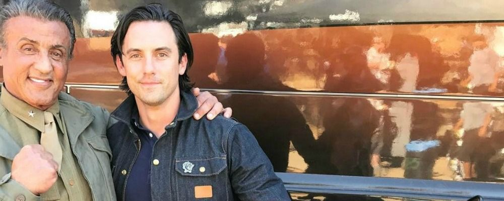 Sylvester Stallone con Milo Ventimiglia sul set di This is us