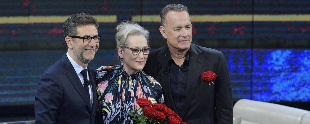 Che tempo che fa, Meryl Streep e Tom Hanks presentano The Post