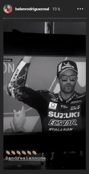 Belen Rodriguez festeggia il podio di Andrea Iannone su Instagram |  pace fatta?