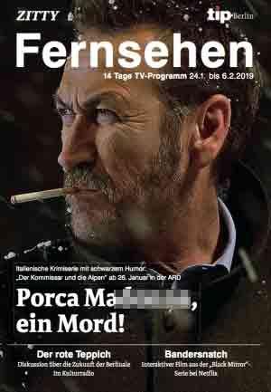 Rocco Schiavone sbarca in Germania, ma la guida tv 'scivola' sulla bestemmia in copertina