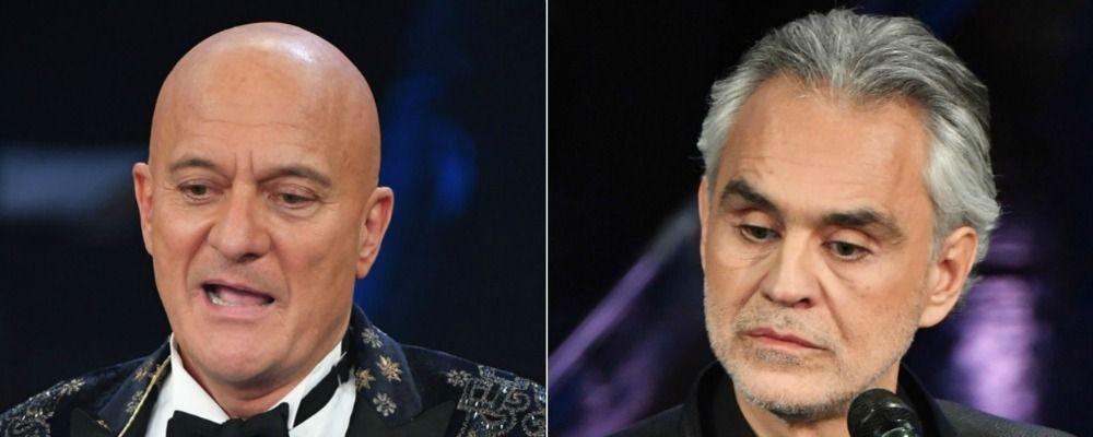 Sanremo 2019, Claudio Bisio e il saluto con la mano a Bocelli: 'Peggio di così non posso fare'