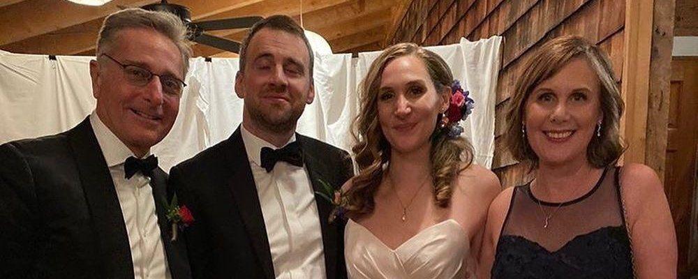 Paolo Bonolis foto con l'ex moglie Diane Zoeller al matrimonio della figlia