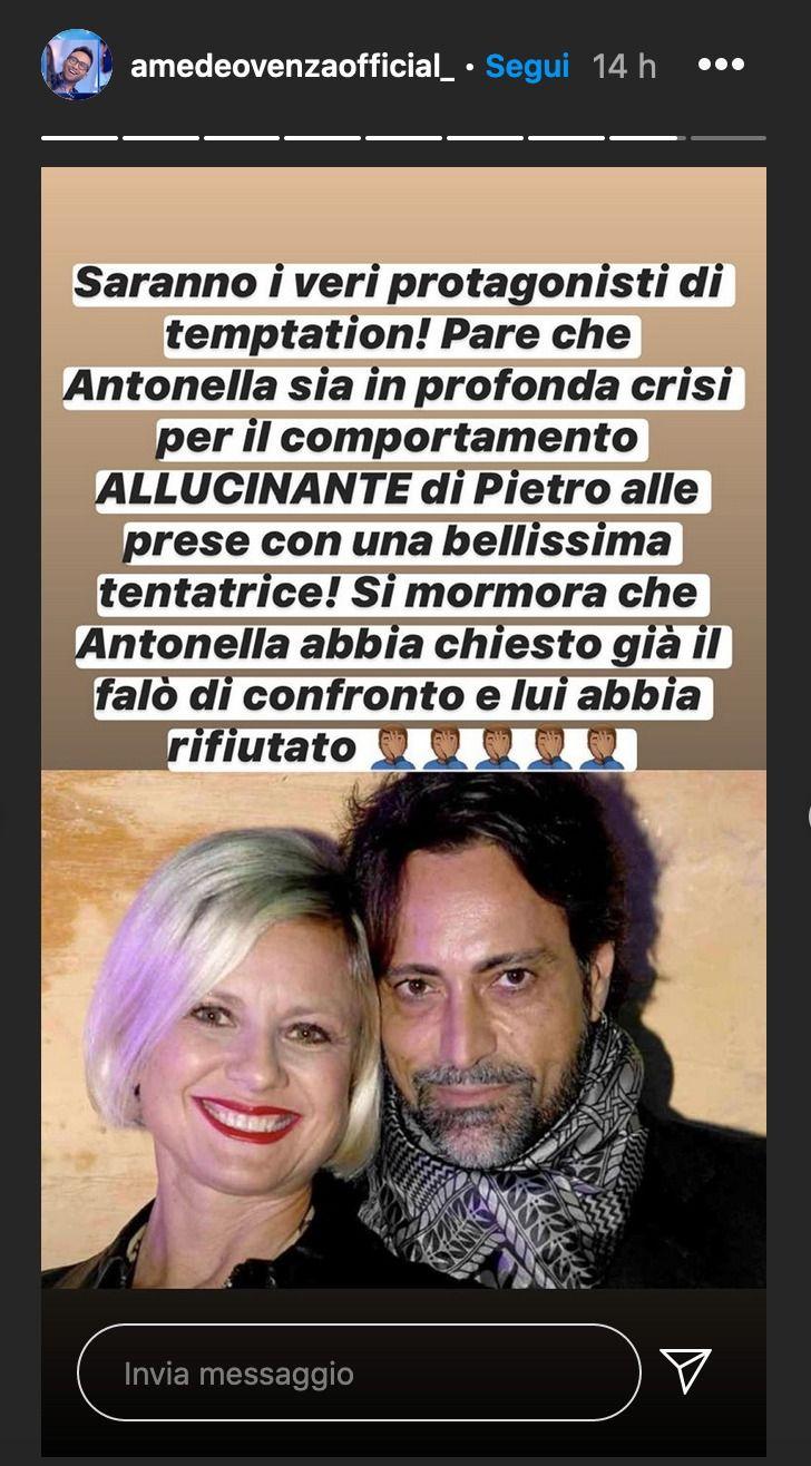 Temptation Island 2020 |  Antonella Elia in crisi con Pietro Delle Piane chiede il falò |