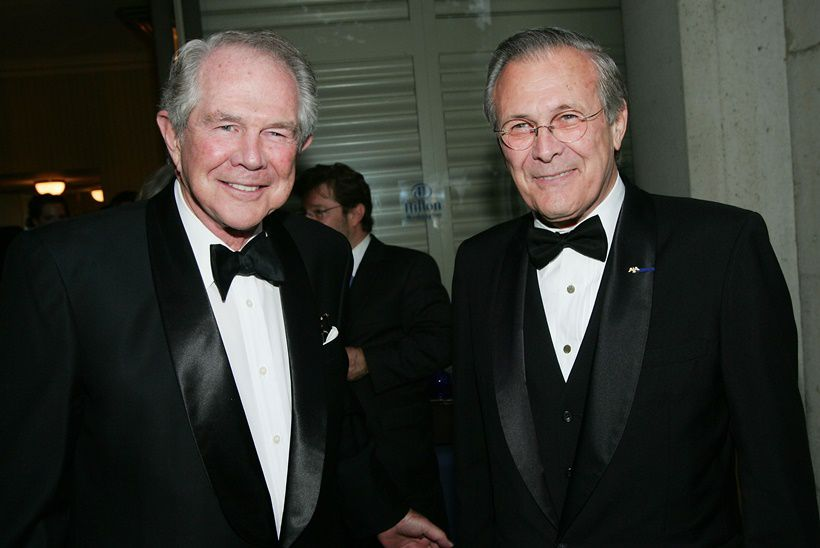 WASHINGTON - APRIL 30:  (L-R) Christian Broadcast Network Founder Pat Robertson and Secretary of Defense Donald Rumsfeld at the White House Correspondents' dinner at the Washington Hilton Hotel April 30, 2005 in Washington D.C.  (Photo by Evan Agostini/Getty Images)