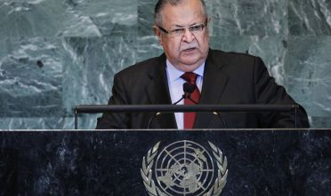 NEW YORK, NY - SEPTEMBER 23:  President of Iraq Jalal Talabani speaks during the United Nations General Assembly on September 23, 2011 in New York City. The annual event, which is being dominated this year by the Palestinian's bid for full membership, gathers more than 100 heads of state and government for high level meetings on nuclear safety, regional conflicts, health and nutrition and environment issues.  (Photo by Spencer Platt/Getty Images)