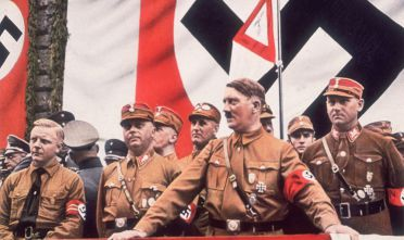 circa 1933:  German Dictator, Adolf Hitler addressing a rally in Germany.  (Photo by Hulton Archive/Getty Images)