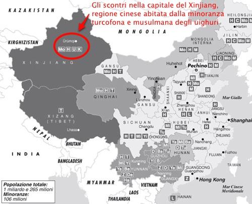 Cina: scontri nel Xinjiang nell'Asia centrale cinese