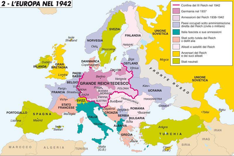 Risultati immagini per mappa europa seconda guerra mondiale