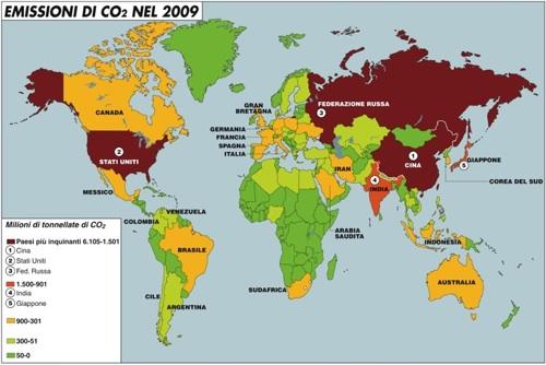Le emissioni di anidride carbonica nel 2009