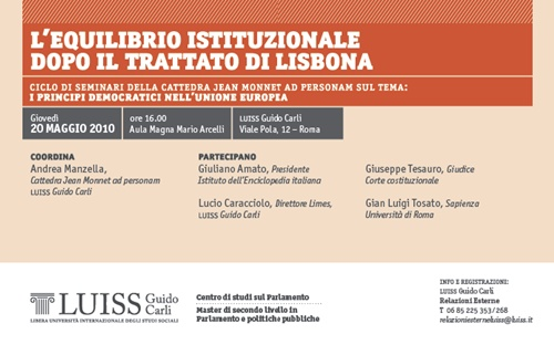L'equilibrio istituzionale dopo il Trattato di Lisbona