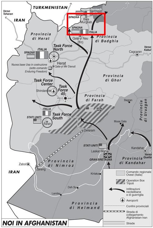 Mappa: coinvolti italiani in scontro a fuoco in Afghanistan