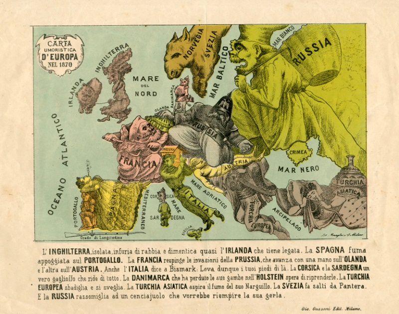 La carta d'Europa nel 1870