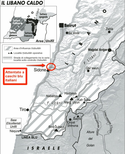 Libano: attentato a caschi blu italiani - mappa