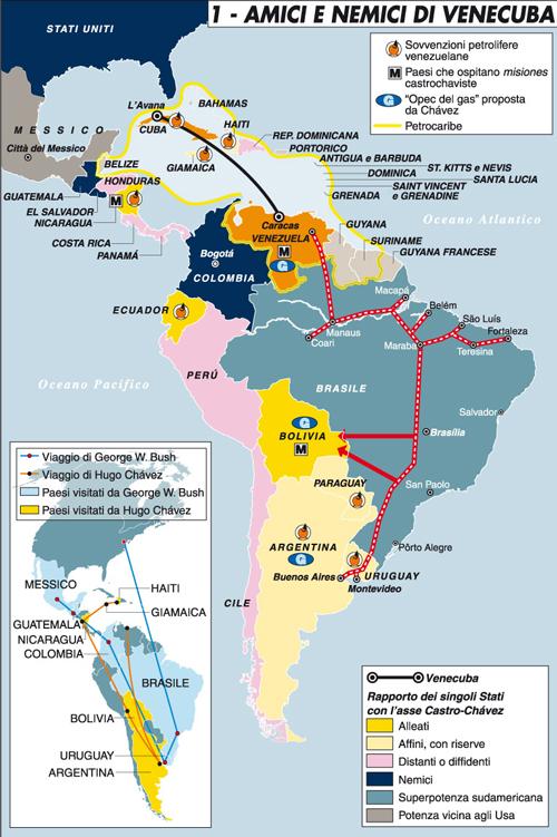 AMERICA CENTRO-SUDLa malattia di Chávez e il confronto con Castro e BerlusconiDopo giorni di indiscrezioni il presidente venezuelano ammette da Cuba di avere il cancro. Il fair play dell'opposizione e il radicalismo del fratello Adán. Le differenze con i Castro e con il premier italiano. Il ritorno in patria.L'inizio della riscossa del Pri in MessicoDopo la vittoria nelle elezioni amministrative di inizio luglio (compreso l'importantissimo Stato del Messico), il Partido Revolucionario Institucional diventa il grande favorito per le presidenziali del 2012. Calderón non può ricandidarsi, e l'opposizione di sinistra del Prd è divisa.