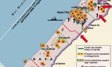 """Carta tratta da Limes 1/09 """"Il buio oltre Gaza"""" - per la legenda clicca quiIsraele ha condotto nella Striscia di Gaza fra dicembre 2008 e gennaio 2009 l'operazione """"Piombo fuso"""" contro l'amministrazione e i comandi militari di Hamas. L'intervento ha ristabilito la supremazia e il prestigio di Tsahal, incrinato durante la guerra del Libano del 2006, e scatenato un'emergenza umanitaria.Guarda il videocommento di Lucio Caracciolo.Leggi """"Guai ai vincitori!"""" di Lucio Caracciolo.Guarda la videocarta """"Il paradosso israeliano"""" di Alfonso Desiderio."""