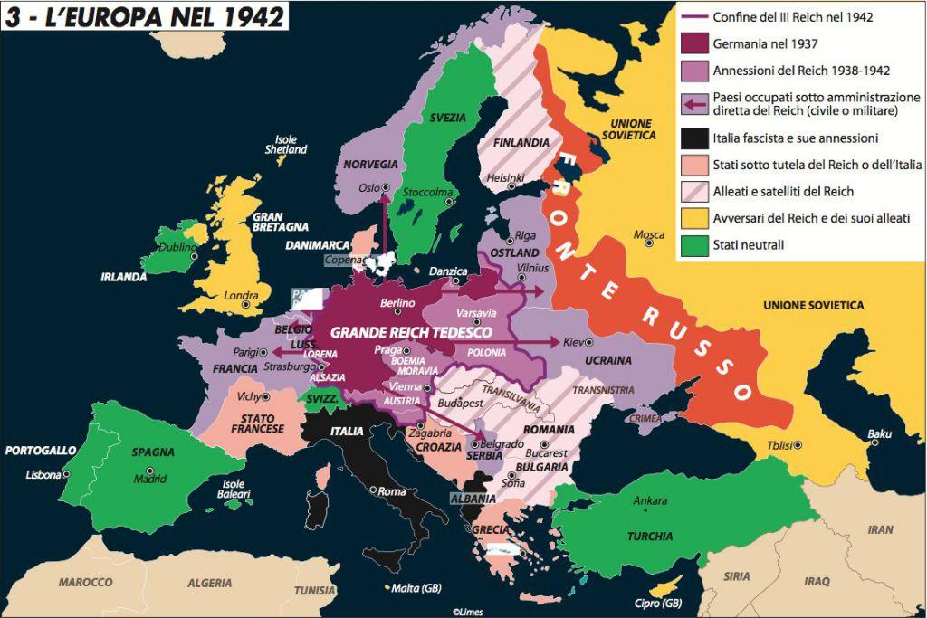 Cartina Mondo Seconda Guerra Mondiale.L Europa Nel 1942 Limes