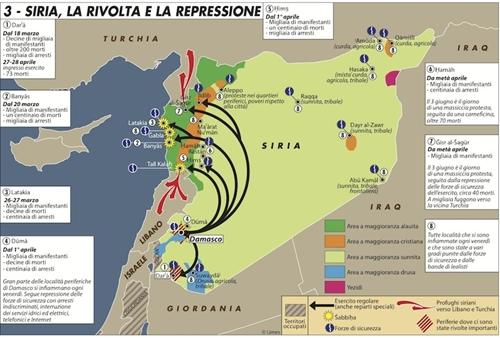 Una carta sulle proteste in Siria, città per città.Per ingrandirla clicca qui.