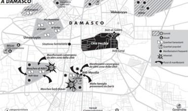 Gli scontri a Damasco