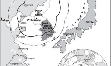 Carta: il raggio dei missili nordcoreani