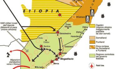 La Somalia è un'altra centrale dell'instabilità africana: è da anni ingovernabile e sotto la minaccia continua del movimento fondamentalista islamico degli Shabaab, combattuto dalle truppe kenyane ed etiopi che occupano parte del paese. Da qui partono inoltre i pirati che sequestrano navi mercantili in tutto l'Oceano Indiano.Tutti gli articoli sulla Somalia | Tutti gli articoli sui pirati