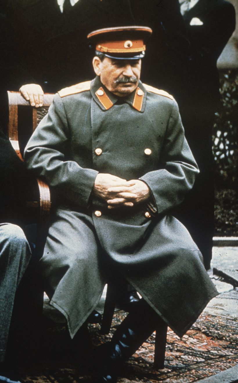 February 1945:  Soviet leader Joseph Stalin (1879 - 1953) in military uniform at the Yalta Conference.  (Photo by Hulton Archive/Getty Images)