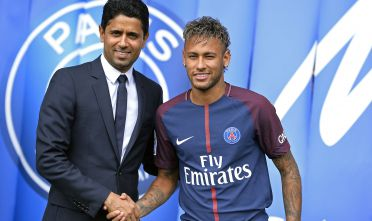 PARIS, FRANCE - AUGUST 04:  Neymar poses with his new jersey next to Paris Saint-Germain President Nasser Al-Khelaifi after a press conference on August 4, 2017 in Paris, France.  Neymar signed a 5 year contract for 222 Million Euro.  (Photo by Aurelien Meunier/Getty Images)