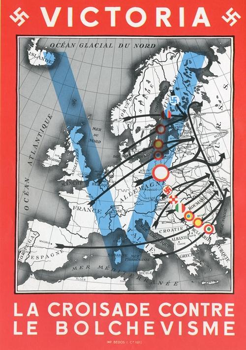 Manifesto tedesco per una crociata anticomunista diffuso nella Francia occupata. In questa figura, il manifesto sintetizza visivamente la presunta unità dei popoli europei che si contrappongono alla Russia bolscevica.
