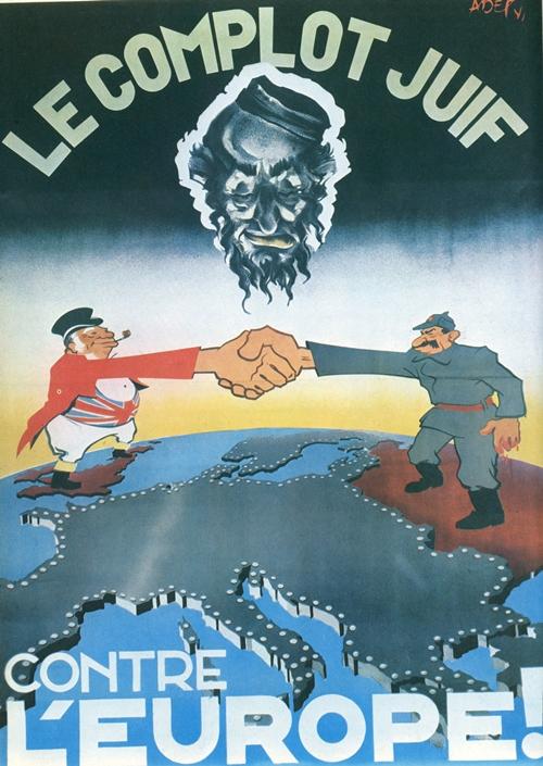 Manifesto antisemita diffuso nella Francia di Vichy.La vera novità dei manifesti della seconda guerra mondiale è nella violenza dei toni e nella crudezza delle immagini. Dal punto di vista delle metafore usate invece, vengono ripresi gli stereotipi classici, come quello dell'ebreo avido sempre intento a complottare (questa figura), dell'inglese accaparratore senza scrupoli di territori altrui (fig.2), dell'Untermensch russo dalle sembianze animalesche (fig.3), del giapponese bellicoso (fig.4).