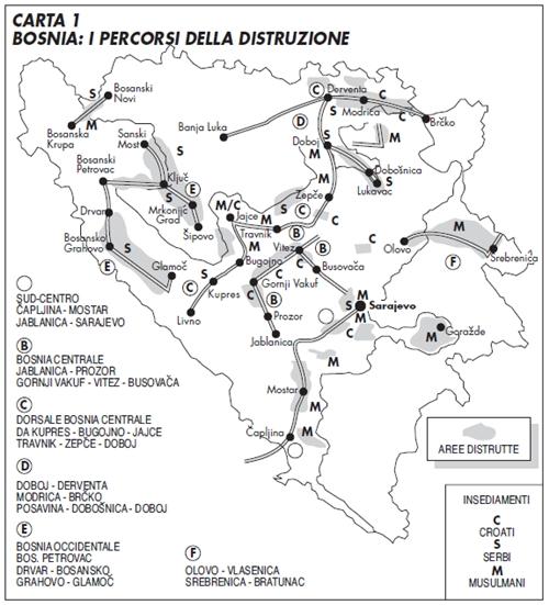 """""""Bosnia: i percorsi della distruzione"""", una carta di Laura Canali."""