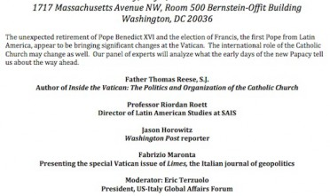 Conferenza a Washington su papa Francesco