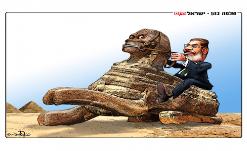 Da Israele, una vignetta sull'Egitto di Morsi: La sfinge imbizzarrita