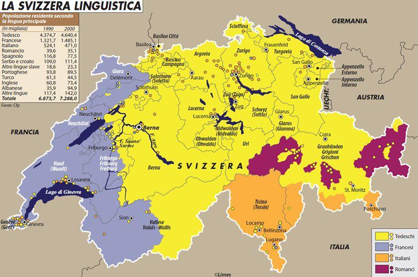 Cartina Tematica Austria.La Svizzera Linguistica Limes