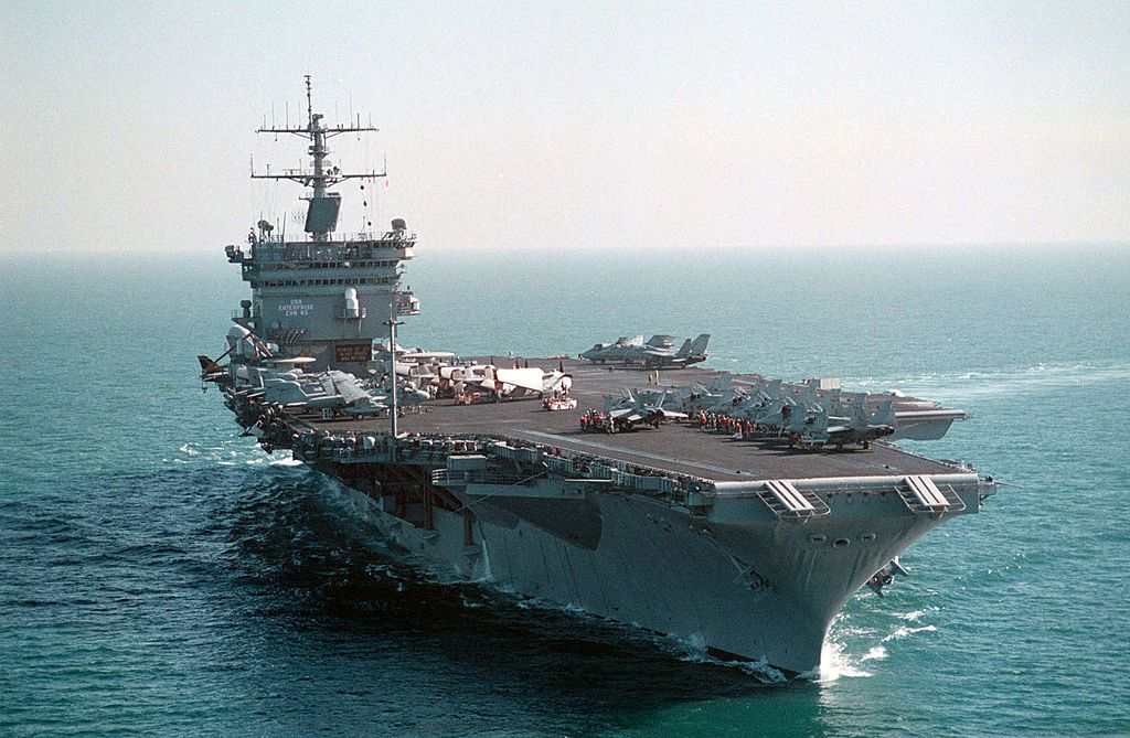 The USS Enterprise (CVN 65) is seen operating in the Arabian Gulf. Enterprise and Carrier Air Wing Three (CVW-3) are operating in support of Operation Southern Watch December 15, 1998. (U.S. Navy photo by Michael W. Pendergrass)