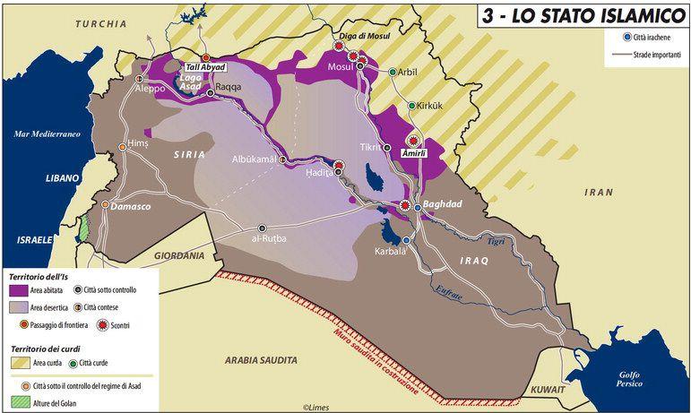 L'espansione dello Stato Islamico alla proclamazione del califfato. Carta di Laura Canali, estate 2014.