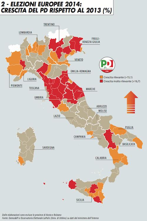 Elezioni europee 2014: crescita del Pd rispetto al 2013