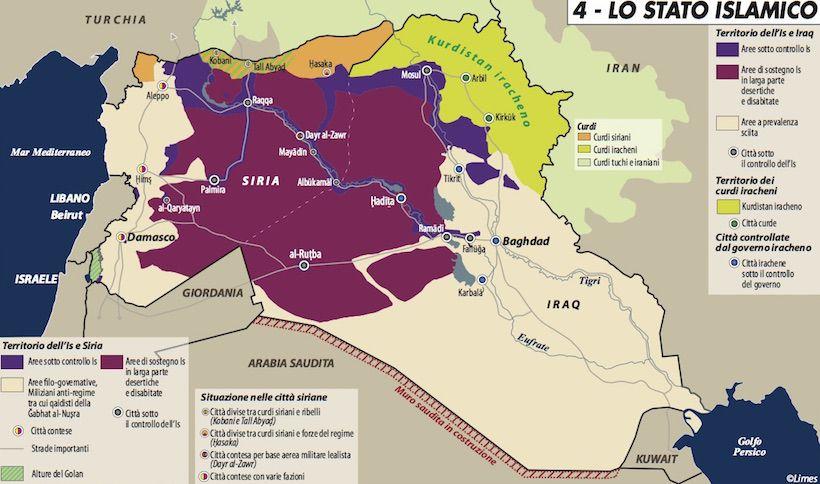 Carta di Laura Canali sull'estensione attuale dello Stato Islamico