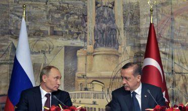 04 Dec 2012, Turkey --- ITAR-TASS: ISTANBUL, TURKEY. DECEMBER 3, 2012. Russia's president Vladimir Putin and Turkey's president Recep Tayyip Erdogan (L-R front) give a press conference after a meeting of the Russian Turkish Partnership Council. (Photo ITAR-TASS / Alexei Nikolsky) --- Image by © Nikolsky Alexei/ITAR-TASS Photo/Corbis