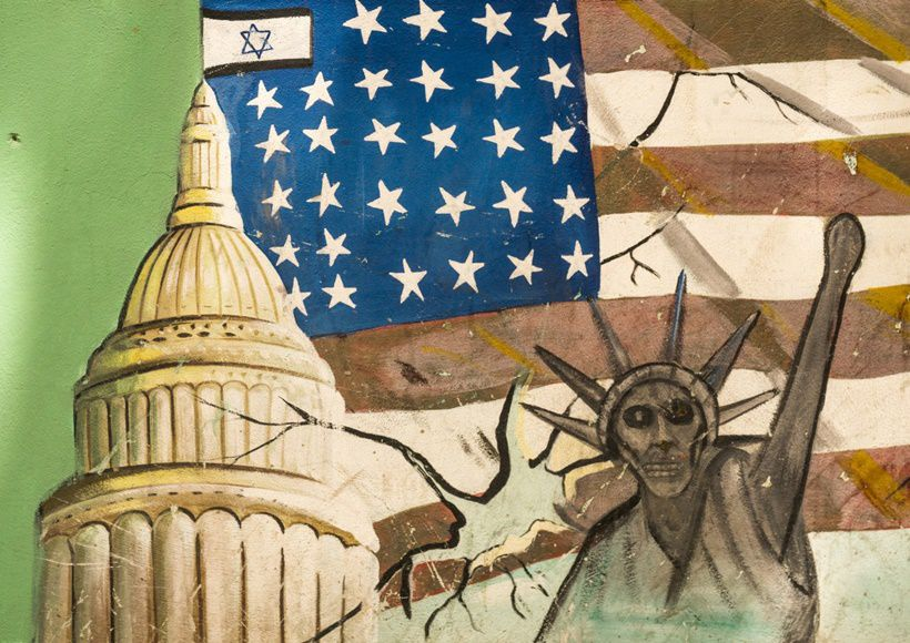 01 May 2015, Tehran, Iran --- Iran, Shemiranat County, Tehran, anti-american mural propoganda slogan depict statue liberty skeleton on the wall of the former united states embassy --- Image by © Eric Lafforgue/Art in All of Us/Corbis