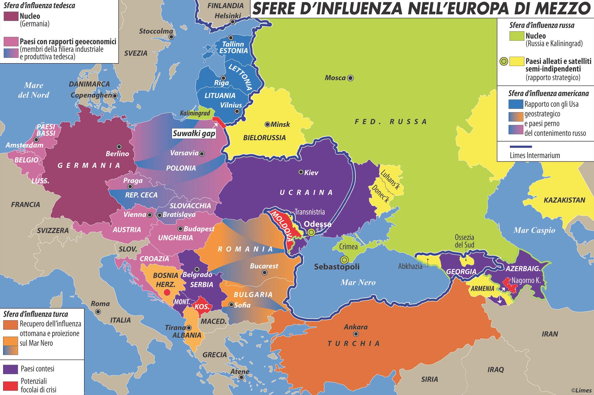 Sfere d'influenza nell'Europa di mezzo