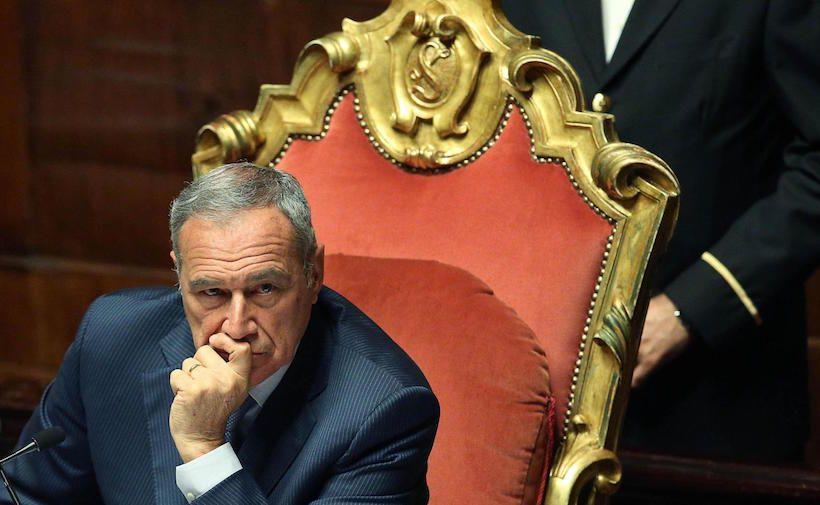 Il presidente del Senato, Pietro Grasso in Aula al Senato il   29 maggio 2013.  ANSA/ALESSANDRO DI MEO
