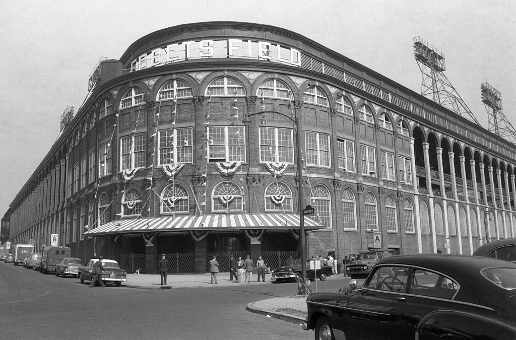 Exterior view of Ebbets Field, home of the Brooklyn Dodgers.