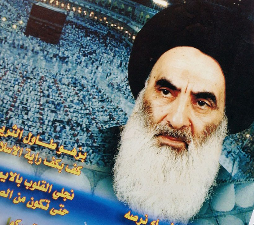 "KARBALA, IRAQ - JANUARY 17:  Posters of Grand Ayatollah Ali Sistani, Iraq's pre-eminent Shiite Muslim cleric, are seen January 17, 2004 in the holy Shia city of Karbala, Iraq.  Sistani has sparked a crisis by rejecting U.S. plans for Iraq and calling for early elections. Once known as a ""quietist"" cleric that rarely intervened in political affairs, Sistani is moving aggressively to ensure that Iraq's Shiite majority of 60% is represented in any new government. (Photo by Scott Peterson/Getty Images)"