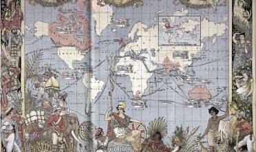 L'immagine raffigura l'impero britannico all'apice della sua potenza durante in età vittoriana, pubblicata in occasione del Golden Jubilee della Regina Vittoria. Walter Crane, Map of the World Showing the Extent of the British Empire, The Graphic, 24 luglio 1886.