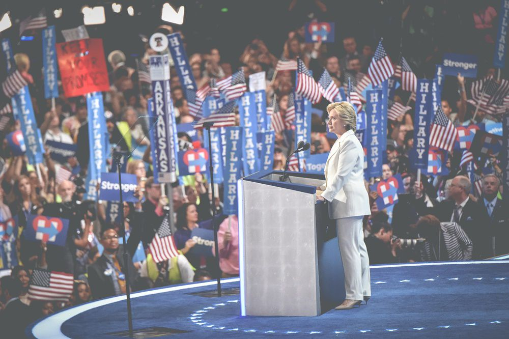 PHILADELPHIA, PA - JULY 28:  (EDITORS NOTE: This image was converted using digital filters)  Democratic presidential candidate Hillary Clinton speaks to the audience at the 2016 Democratic National Convention at Wells Fargo Center on July 25, 2016 in Philadelphia, Pennsylvania.  (Photo by Mike Coppola/WireImage)
